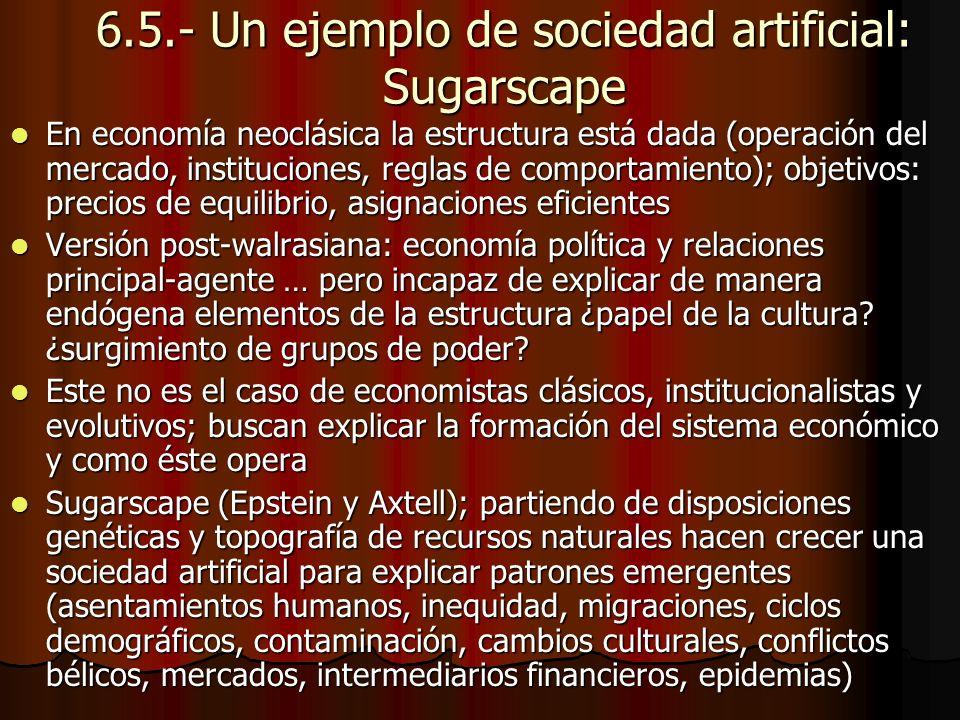 6.5.- Un ejemplo de sociedad artificial: Sugarscape En economía neoclásica la estructura está dada (operación del mercado, instituciones, reglas de co