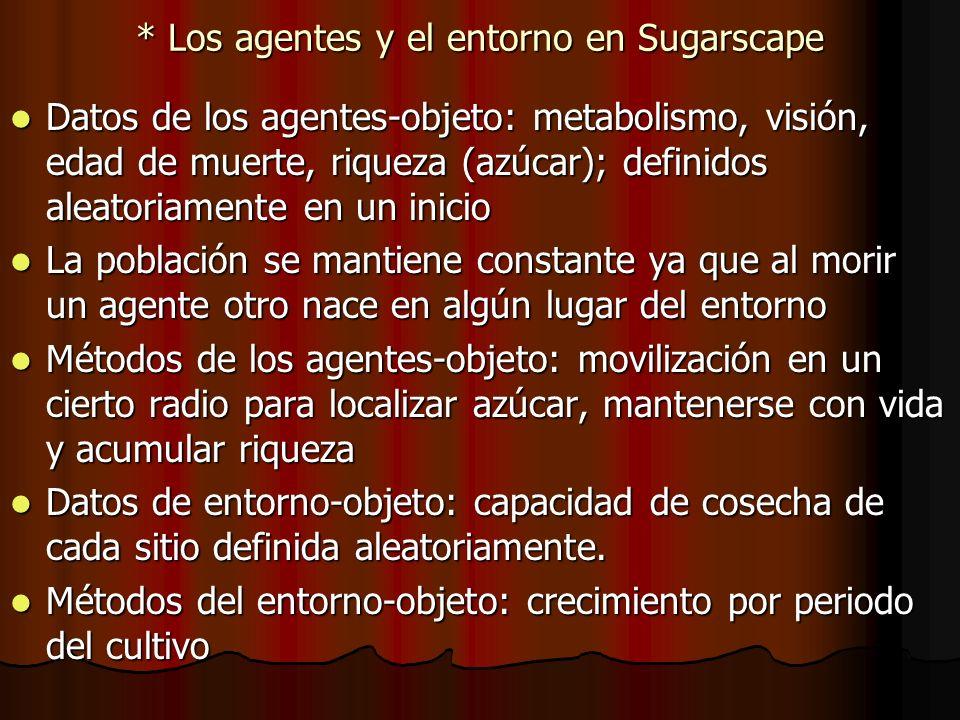 * Los agentes y el entorno en Sugarscape Datos de los agentes-objeto: metabolismo, visión, edad de muerte, riqueza (azúcar); definidos aleatoriamente