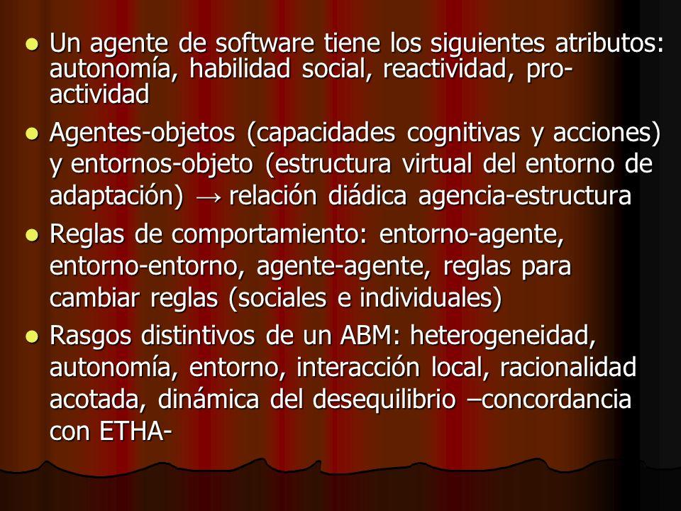 Un agente de software tiene los siguientes atributos: autonomía, habilidad social, reactividad, pro- actividad Un agente de software tiene los siguien