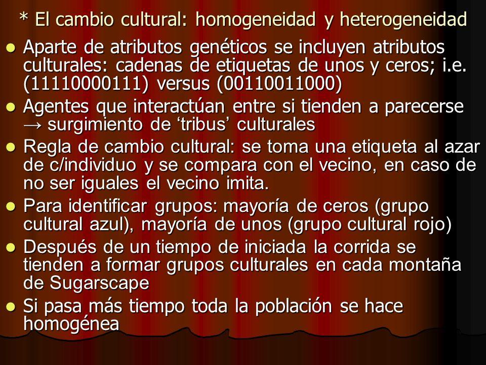 * El cambio cultural: homogeneidad y heterogeneidad Aparte de atributos genéticos se incluyen atributos culturales: cadenas de etiquetas de unos y cer