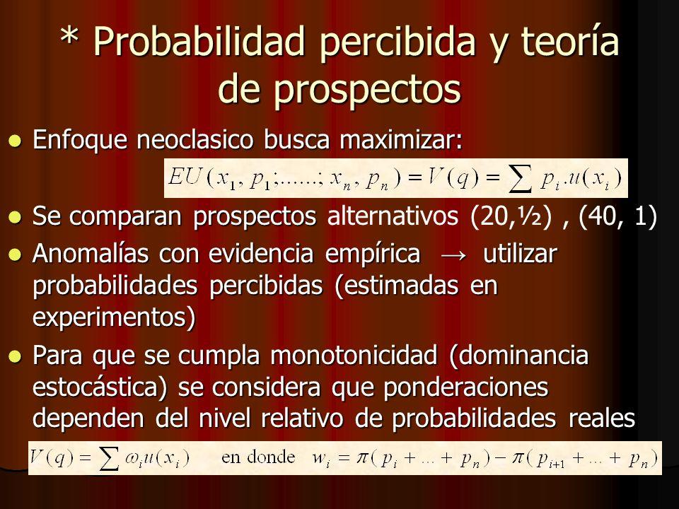 * Probabilidad percibida y teoría de prospectos Enfoque neoclasico busca maximizar: Enfoque neoclasico busca maximizar: Se comparan prospectos Se comp