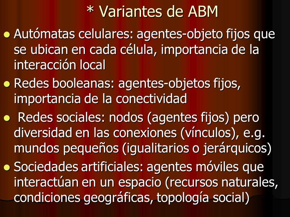* Variantes de ABM Autómatas celulares: agentes-objeto fijos que se ubican en cada célula, importancia de la interacción local Autómatas celulares: ag
