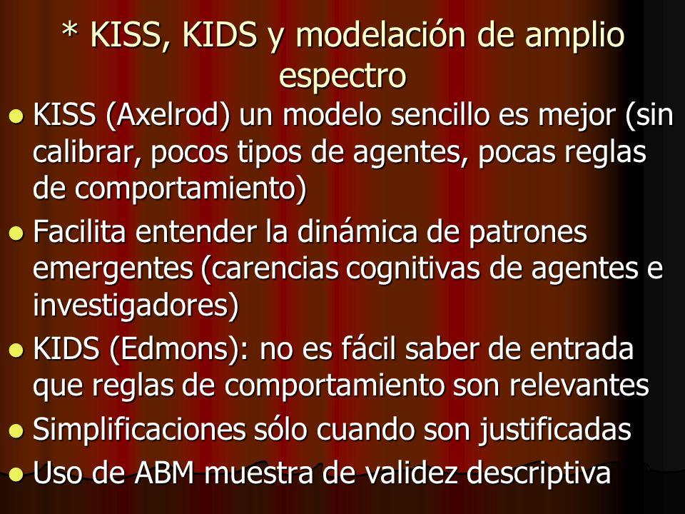 * KISS, KIDS y modelación de amplio espectro KISS (Axelrod) un modelo sencillo es mejor (sin calibrar, pocos tipos de agentes, pocas reglas de comport