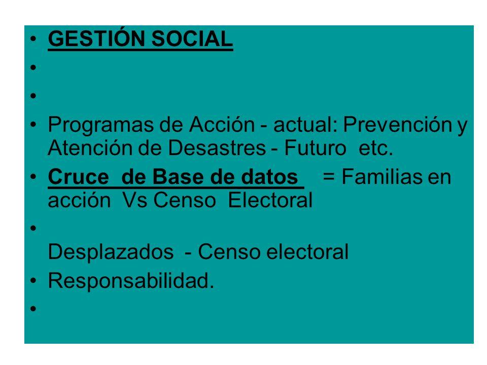 GESTIÓN SOCIAL Programas de Acción - actual: Prevención y Atención de Desastres - Futuro etc. Cruce de Base de datos = Familias en acción Vs Censo Ele
