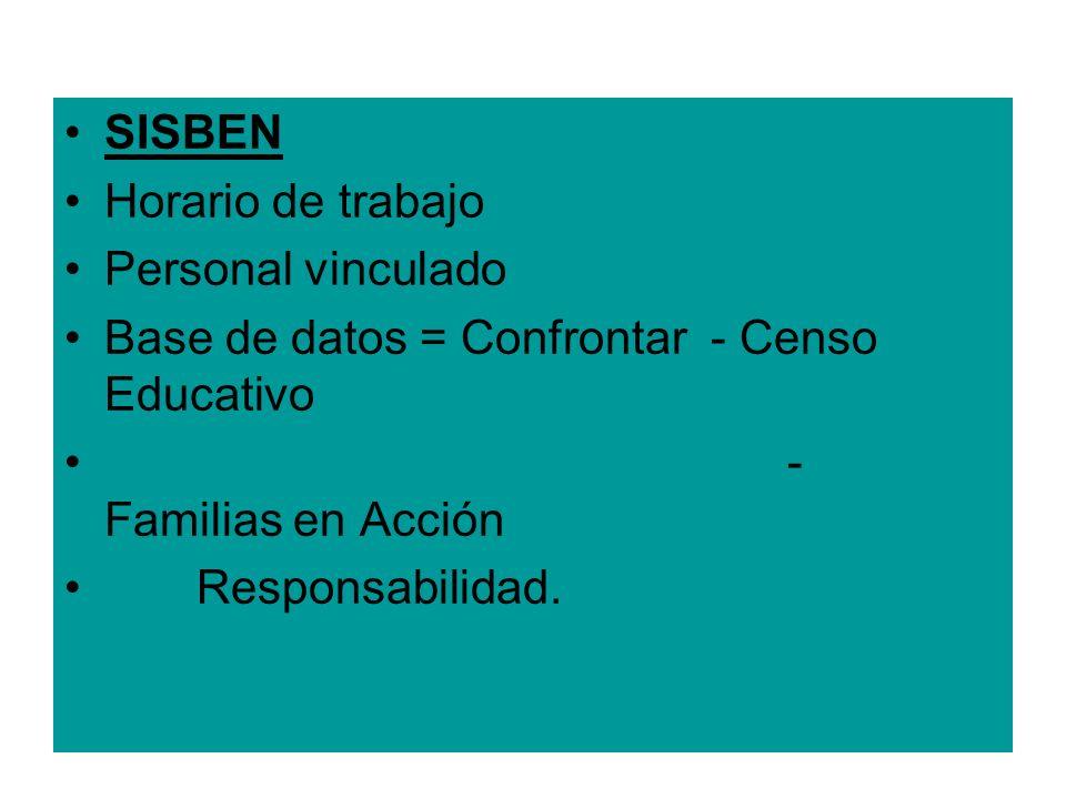 SISBEN Horario de trabajo Personal vinculado Base de datos = Confrontar - Censo Educativo - Familias en Acción Responsabilidad.