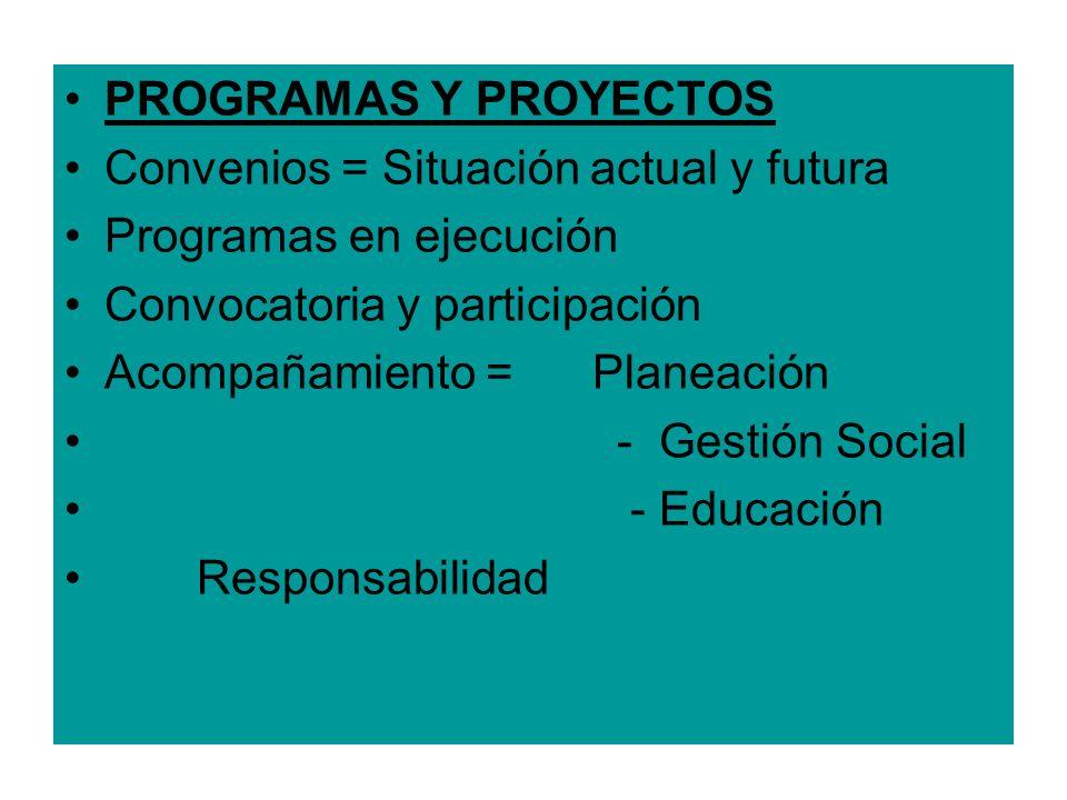 PROGRAMAS Y PROYECTOS Convenios = Situación actual y futura Programas en ejecución Convocatoria y participación Acompañamiento = Planeación - Gestión