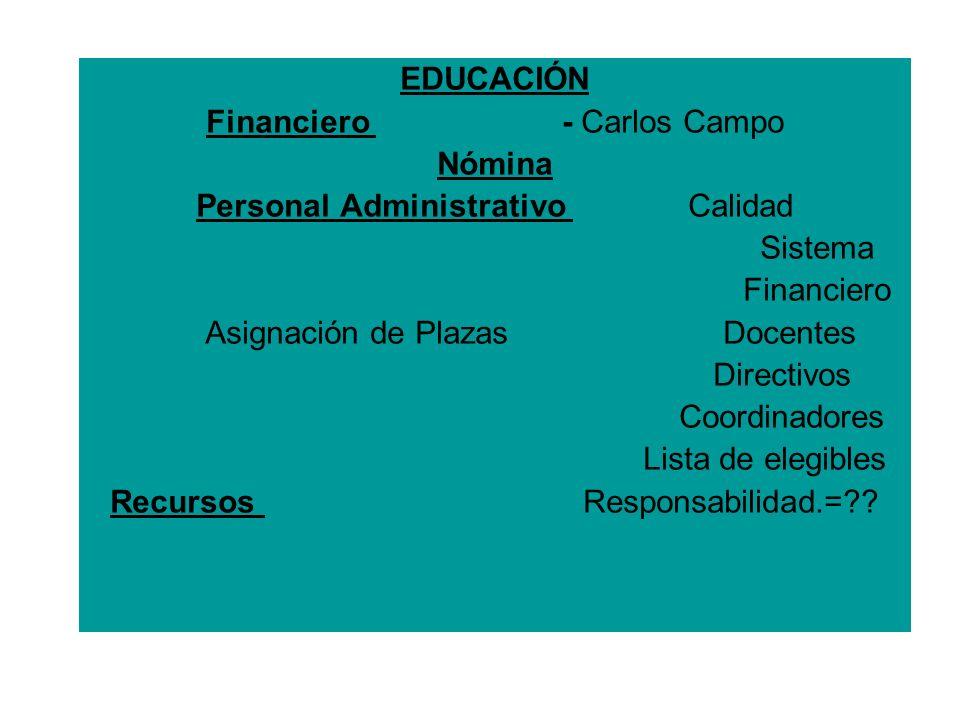 EDUCACIÓN Financiero  - Carlos Campo Nómina Personal Administrativo Calidad Sistema Financiero Asignación de Plazas Docentes Directivos Coordinadores