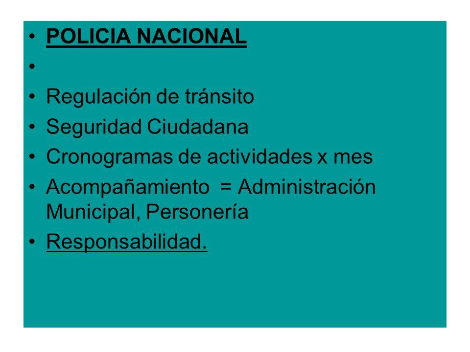 POLICIA NACIONAL Regulación de tránsito Seguridad Ciudadana Cronogramas de actividades x mes Acompañamiento = Administración Municipal, Personería Res