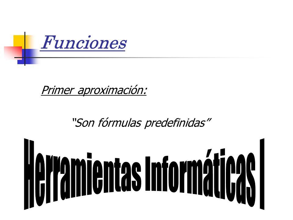 Funciones Primer aproximación: Son fórmulas predefinidas