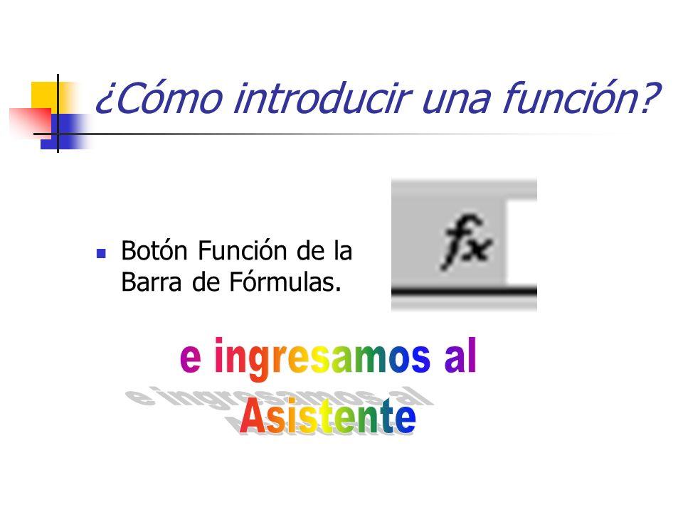 Botón Función de la Barra de Fórmulas. ¿Cómo introducir una función?