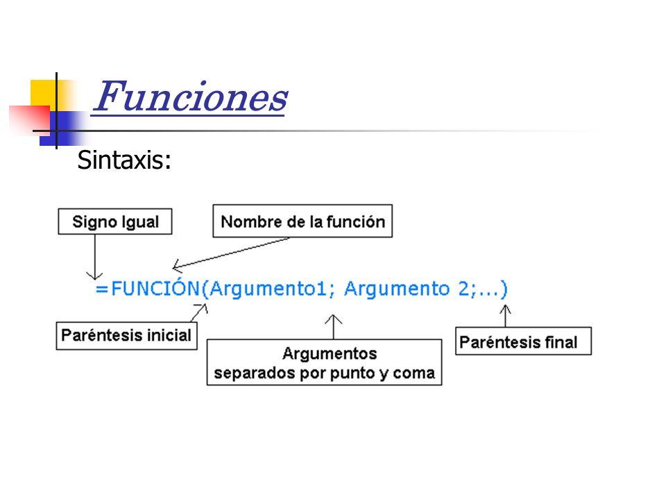Funciones Sintaxis: