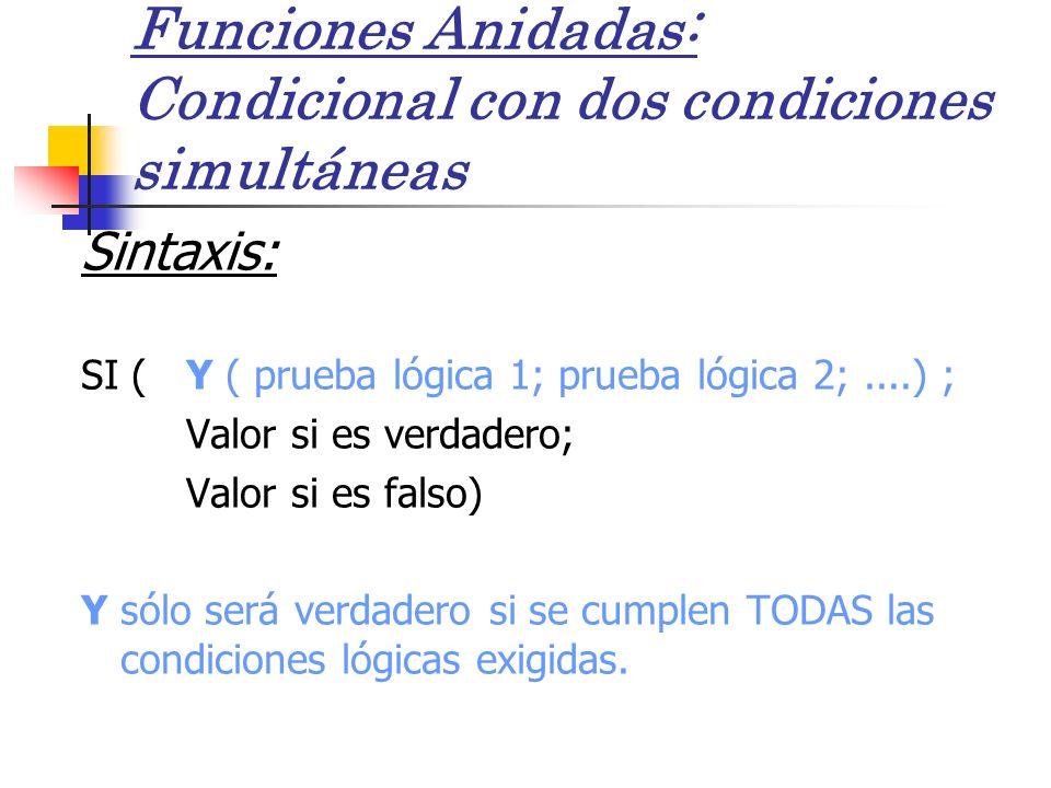 Funciones Anidadas: Condicional con dos condiciones simultáneas Sintaxis: SI ( Y ( prueba lógica 1; prueba lógica 2;....) ; Valor si es verdadero; Val