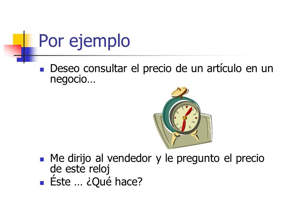 Por ejemplo Deseo consultar el precio de un artículo en un negocio… Me dirijo al vendedor y le pregunto el precio de este reloj Éste … ¿Qué hace?