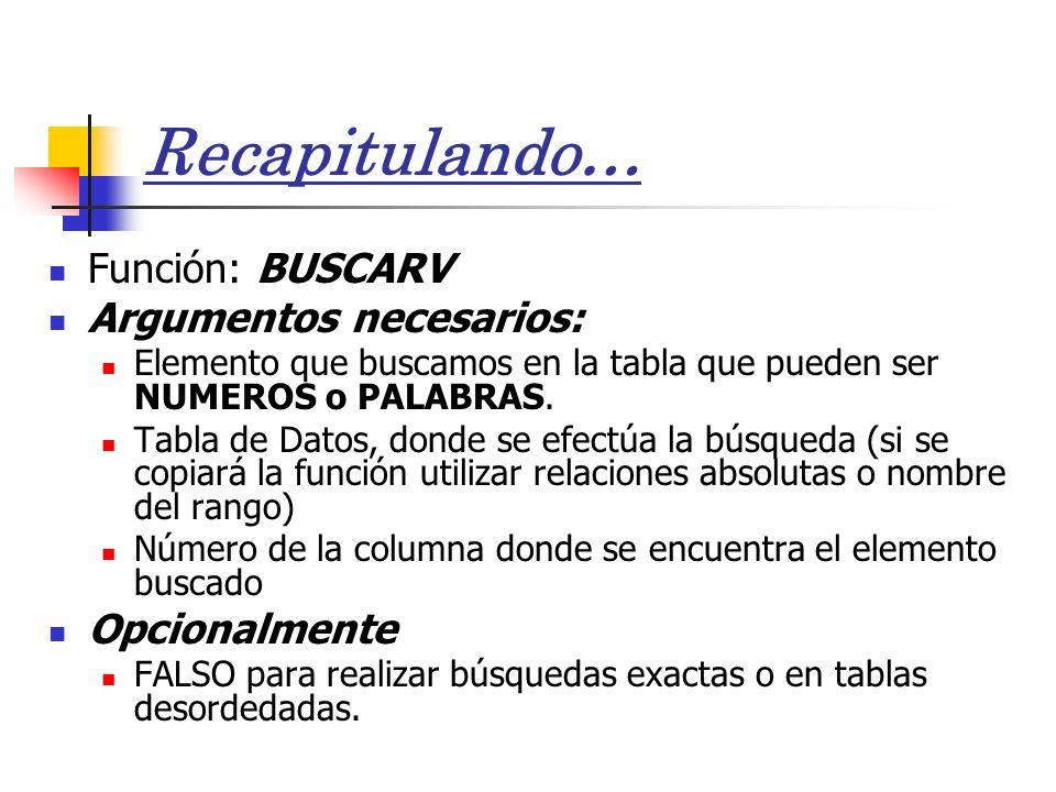Recapitulando… Función: BUSCARV Argumentos necesarios: Elemento que buscamos en la tabla que pueden ser NUMEROS o PALABRAS.