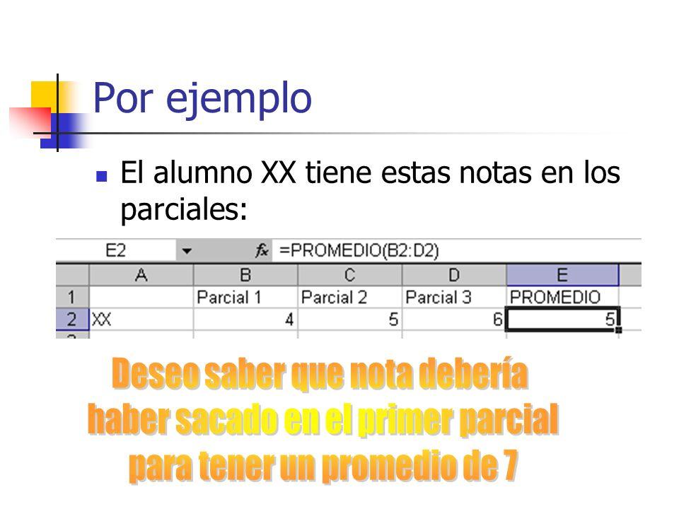 Por ejemplo El alumno XX tiene estas notas en los parciales: