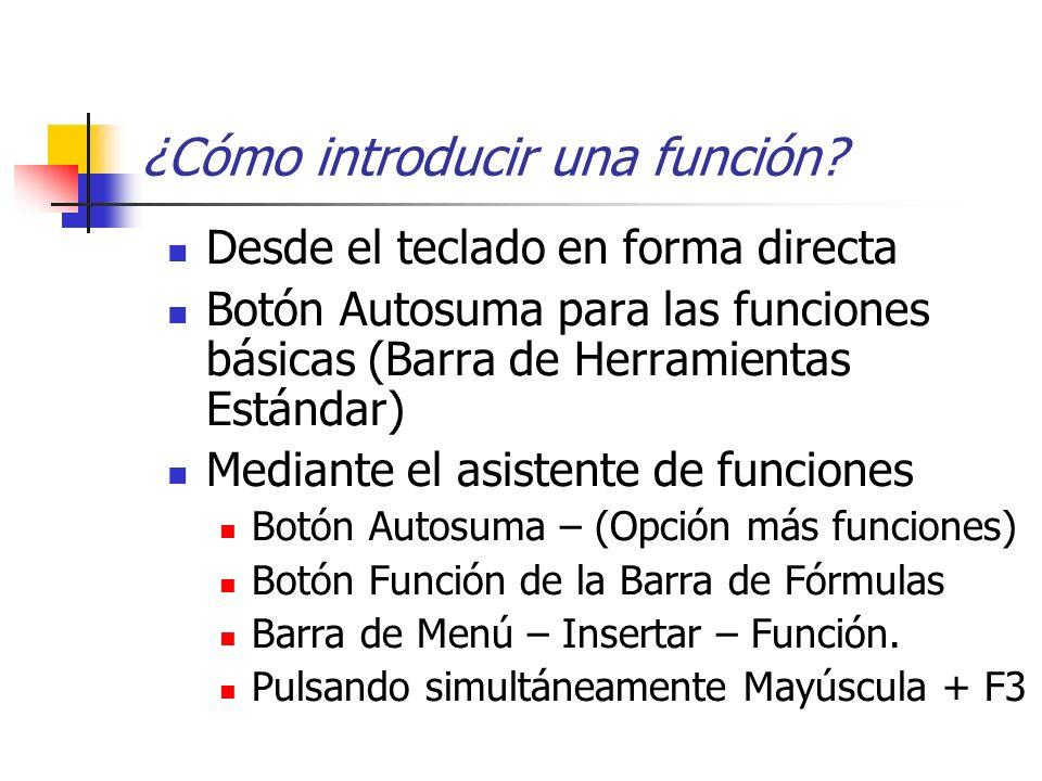 ¿Cómo introducir una función? Desde el teclado en forma directa Botón Autosuma para las funciones básicas (Barra de Herramientas Estándar) Mediante el