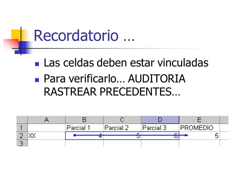 Recordatorio … Las celdas deben estar vinculadas Para verificarlo… AUDITORIA RASTREAR PRECEDENTES…