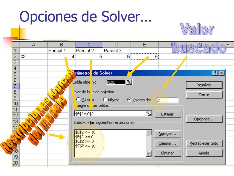 Opciones de Solver…