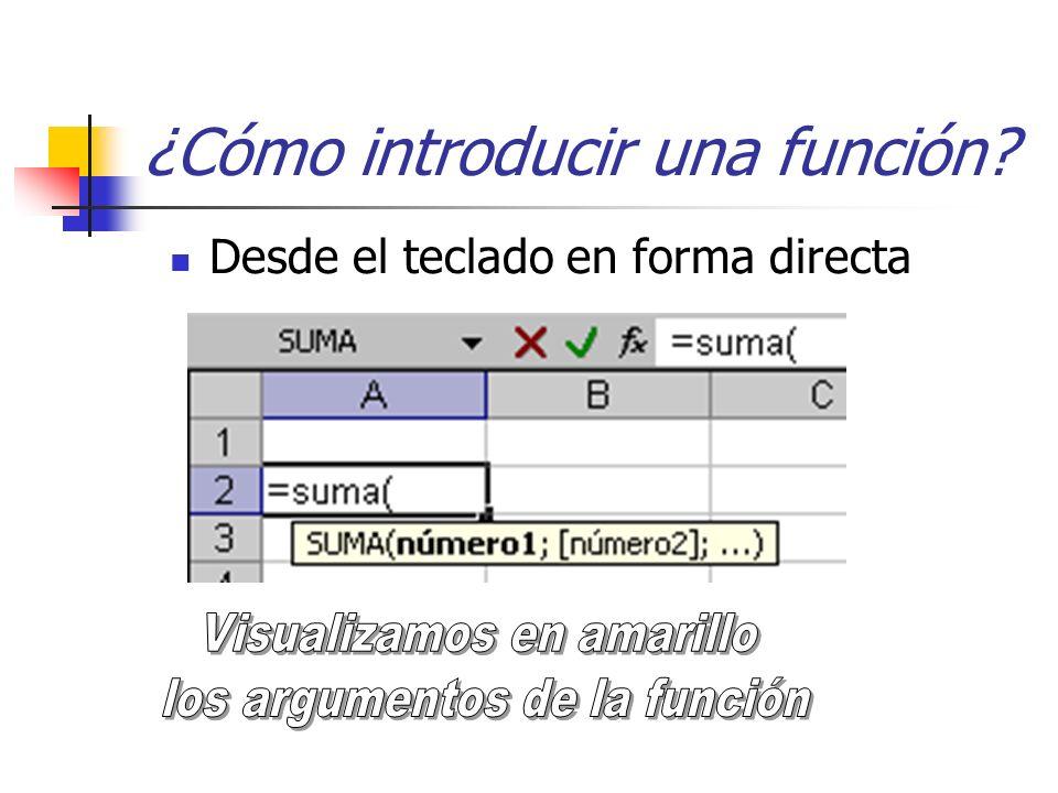 Desde el teclado en forma directa ¿Cómo introducir una función?