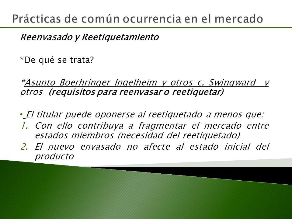 Reenvasado y Reetiquetamiento *De qué se trata.*Asunto Boerhringer Ingelheim y otros c.