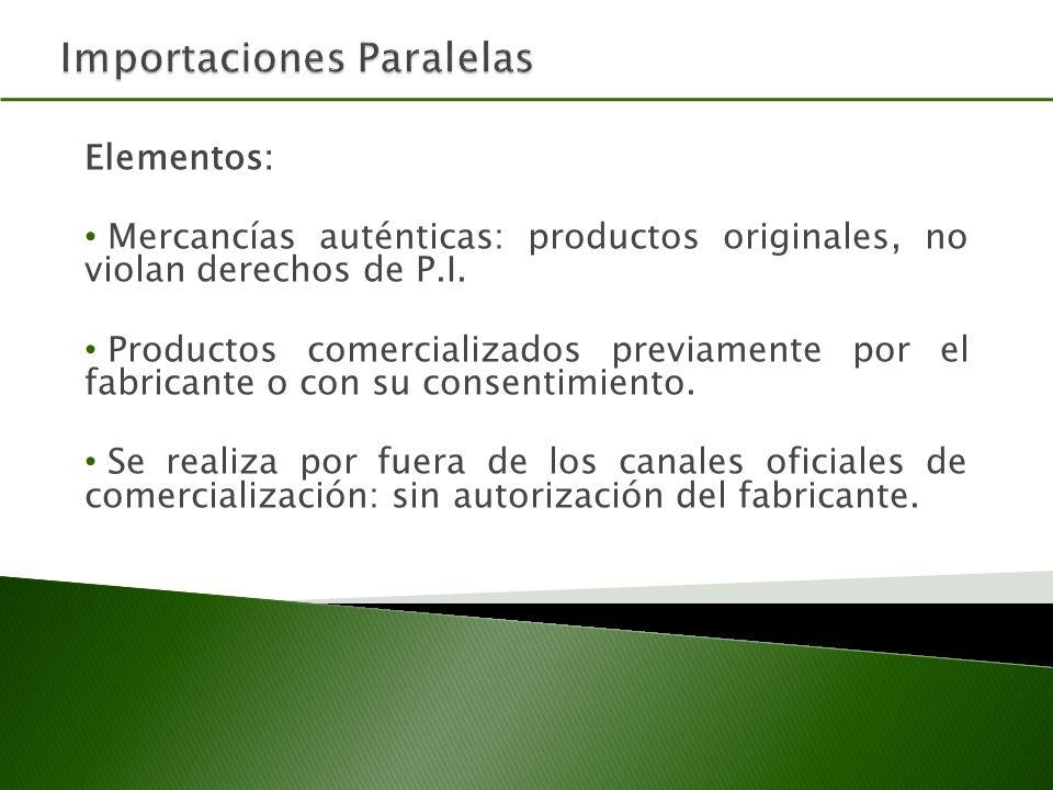 Elementos: Mercancías auténticas: productos originales, no violan derechos de P.I.