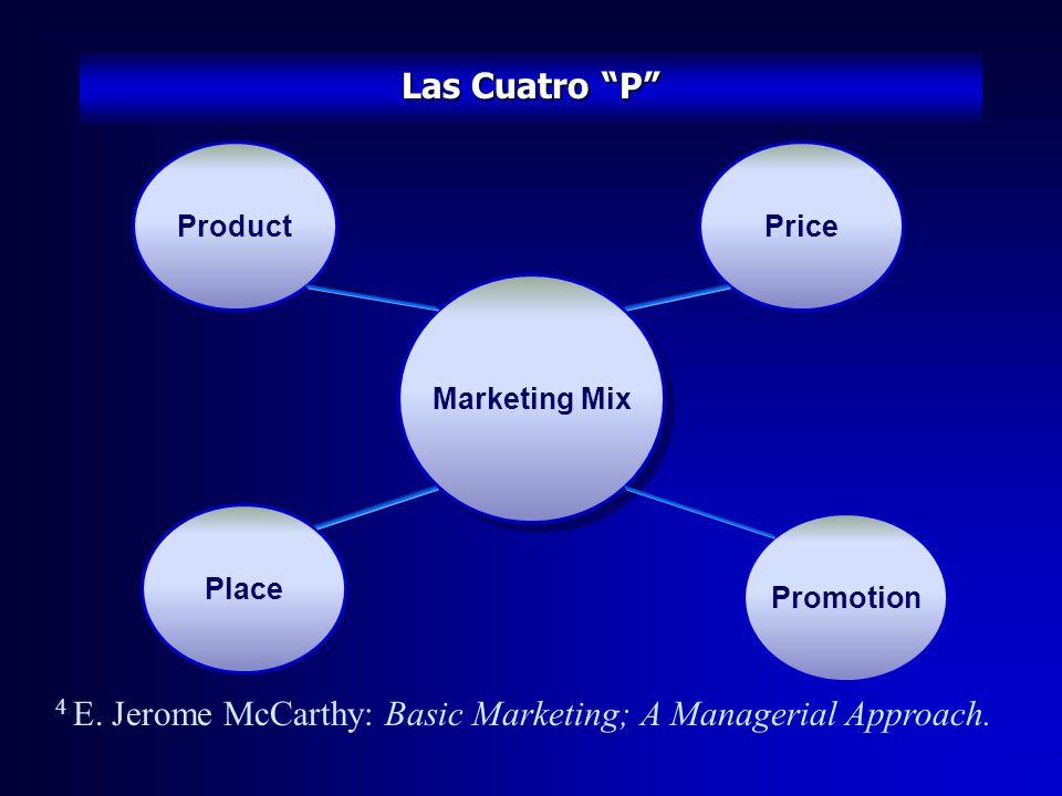 La Mezcla del Marketing Una vez que la oferta básica, e.g.: Concepto de Producto ha sido establecido, la compañía tiene que pensar sobre la mezcla del