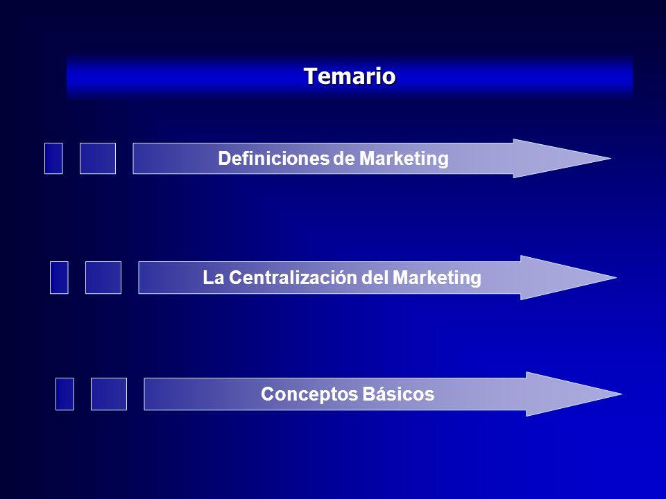 Temario Definiciones de Marketing La Centralización del Marketing Conceptos Básicos