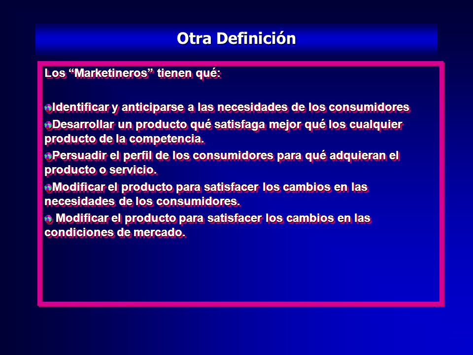 Poética definición de Marketing 2 Marketing is the creation of long-term demand, while sales is the execution of marketing strategies.