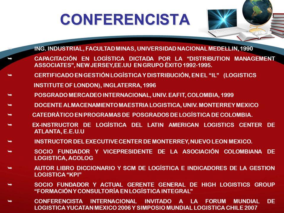 CONFERENCISTA ING. INDUSTRIAL, FACULTAD MINAS, UNIVERSIDAD NACIONAL MEDELLIN, 1990 CAPACITACIÓN EN LOGÍSTICA DICTADA POR LA DISTRIBUTION MANAGEMENT AS