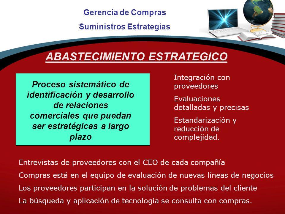 Gerencia de Compras Suministros Estrategias ABASTECIMIENTO ESTRATEGICO Proceso sistemático de identificación y desarrollo de relaciones comerciales que puedan ser estratégicas a largo plazo Integración con proveedores Evaluaciones detalladas y precisas Estandarización y reducción de complejidad.