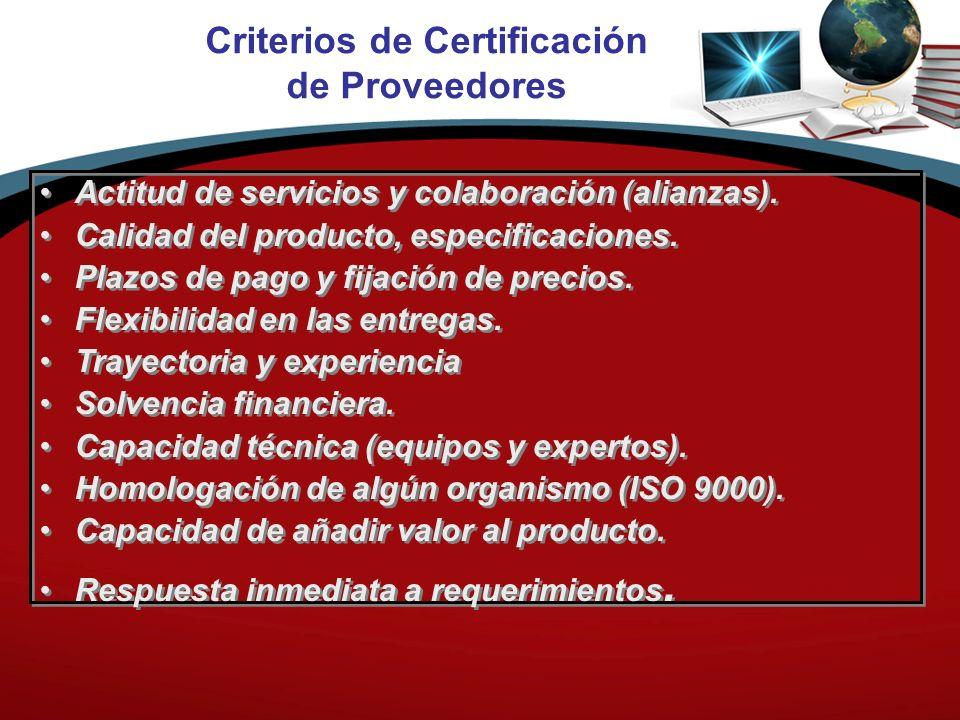 Criterios de Certificación de Proveedores Actitud de servicios y colaboración (alianzas). Calidad del producto, especificaciones. Plazos de pago y fij