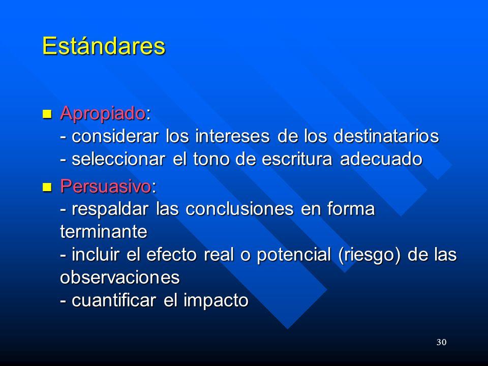 30 Estándares Apropiado: - considerar los intereses de los destinatarios - seleccionar el tono de escritura adecuado Apropiado: - considerar los intereses de los destinatarios - seleccionar el tono de escritura adecuado Persuasivo: - respaldar las conclusiones en forma terminante - incluir el efecto real o potencial (riesgo) de las observaciones - cuantificar el impacto Persuasivo: - respaldar las conclusiones en forma terminante - incluir el efecto real o potencial (riesgo) de las observaciones - cuantificar el impacto