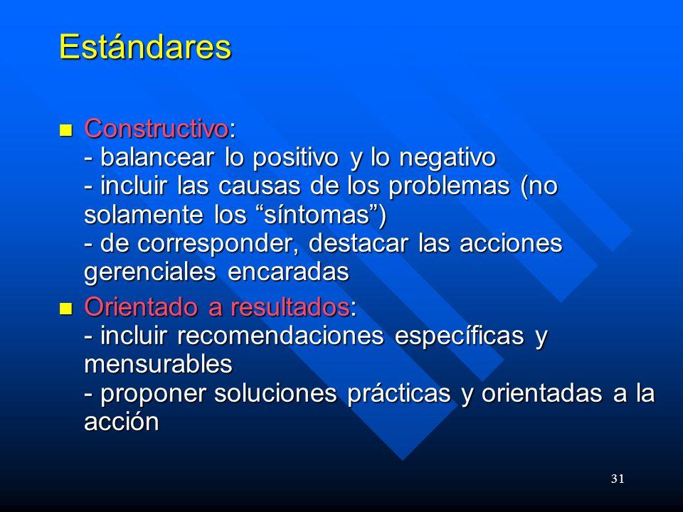 31 Estándares Constructivo: - balancear lo positivo y lo negativo - incluir las causas de los problemas (no solamente los síntomas) - de corresponder, destacar las acciones gerenciales encaradas Constructivo: - balancear lo positivo y lo negativo - incluir las causas de los problemas (no solamente los síntomas) - de corresponder, destacar las acciones gerenciales encaradas Orientado a resultados: - incluir recomendaciones específicas y mensurables - proponer soluciones prácticas y orientadas a la acción Orientado a resultados: - incluir recomendaciones específicas y mensurables - proponer soluciones prácticas y orientadas a la acción