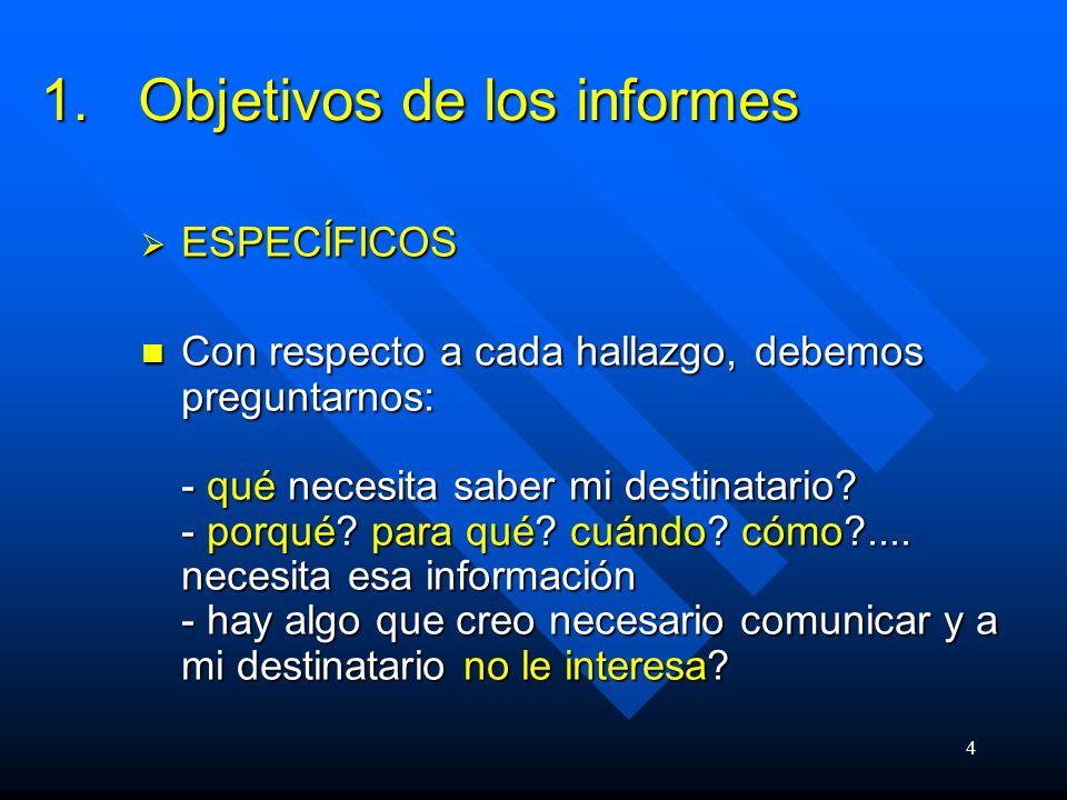 4 1.Objetivos de los informes ESPECÍFICOS ESPECÍFICOS Con respecto a cada hallazgo, debemos preguntarnos: - qué necesita saber mi destinatario.