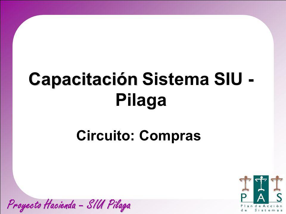 Proyecto Hacienda – SIU Pilaga Capacitación Capacitación Sistema SIU - Pilaga Circuito: Compras