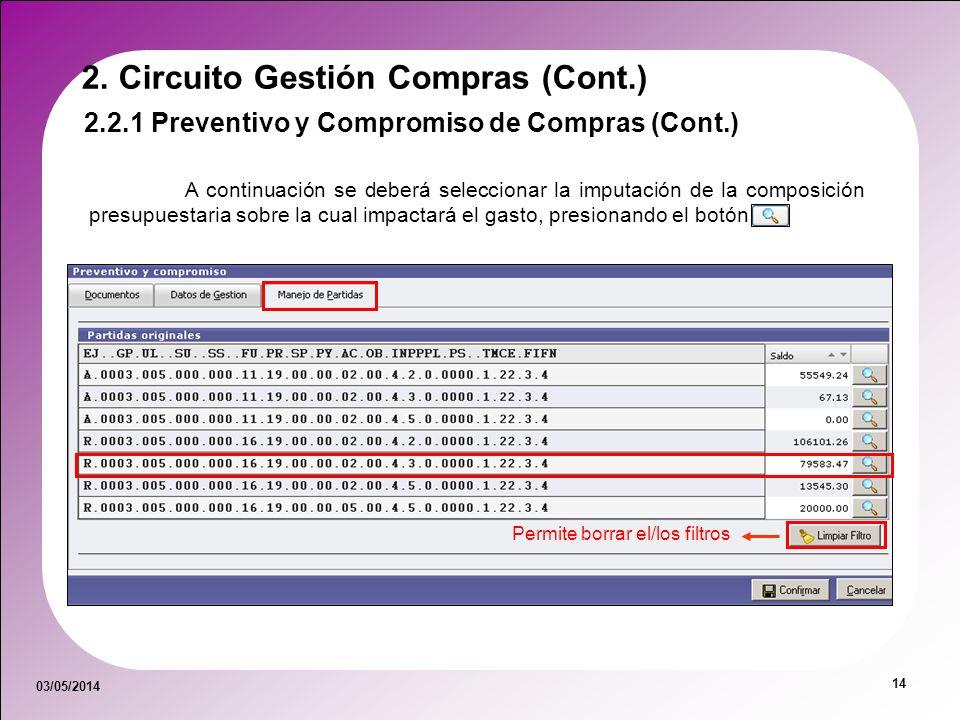 03/05/2014 14 Permite borrar el/los filtros A continuación se deberá seleccionar la imputación de la composición presupuestaria sobre la cual impactar