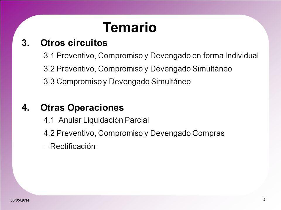 03/05/2014 3 Temario 3.Otros circuitos 3.1 Preventivo, Compromiso y Devengado en forma Individual 3.2 Preventivo, Compromiso y Devengado Simultáneo 3.