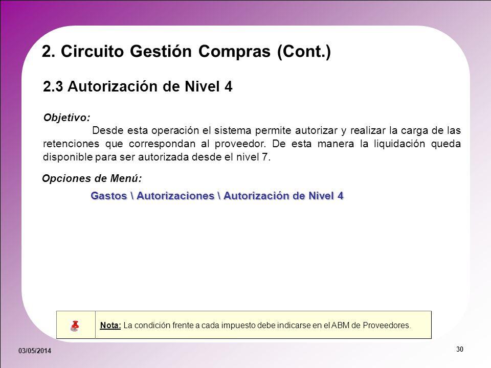 03/05/2014 30 2.3 Autorización de Nivel 4 Objetivo: Desde esta operación el sistema permite autorizar y realizar la carga de las retenciones que corre