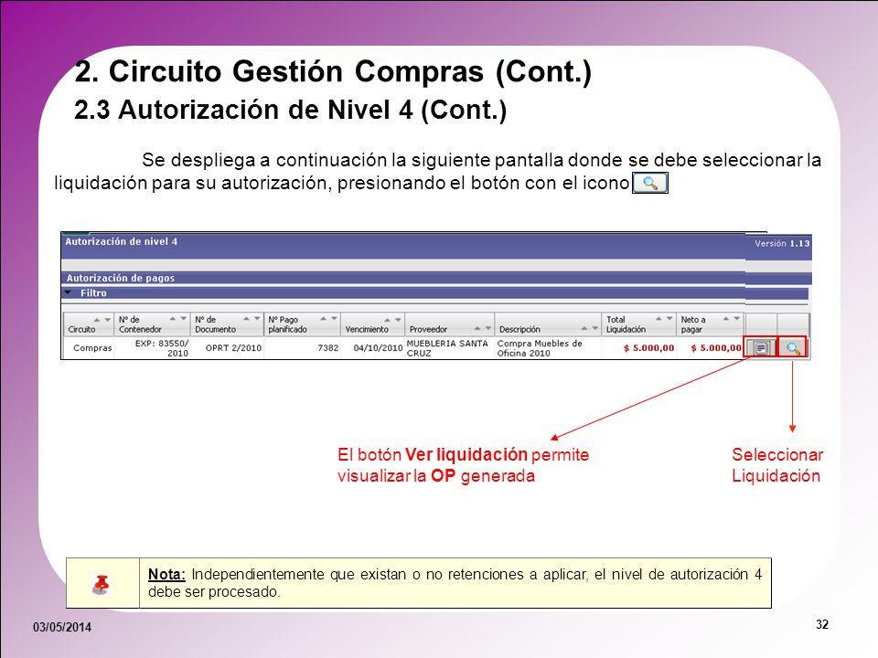 03/05/2014 32 Se despliega a continuación la siguiente pantalla donde se debe seleccionar la liquidación para su autorización, presionando el botón co