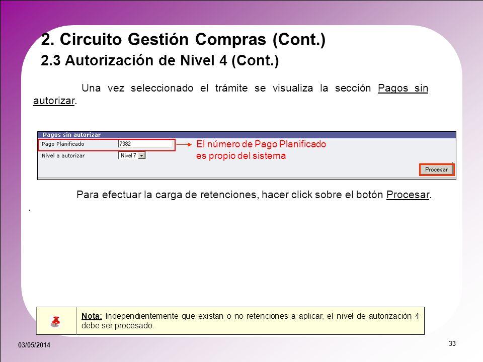 03/05/2014 33 Nota: Independientemente que existan o no retenciones a aplicar, el nivel de autorización 4 debe ser procesado. 2. Circuito Gestión Comp