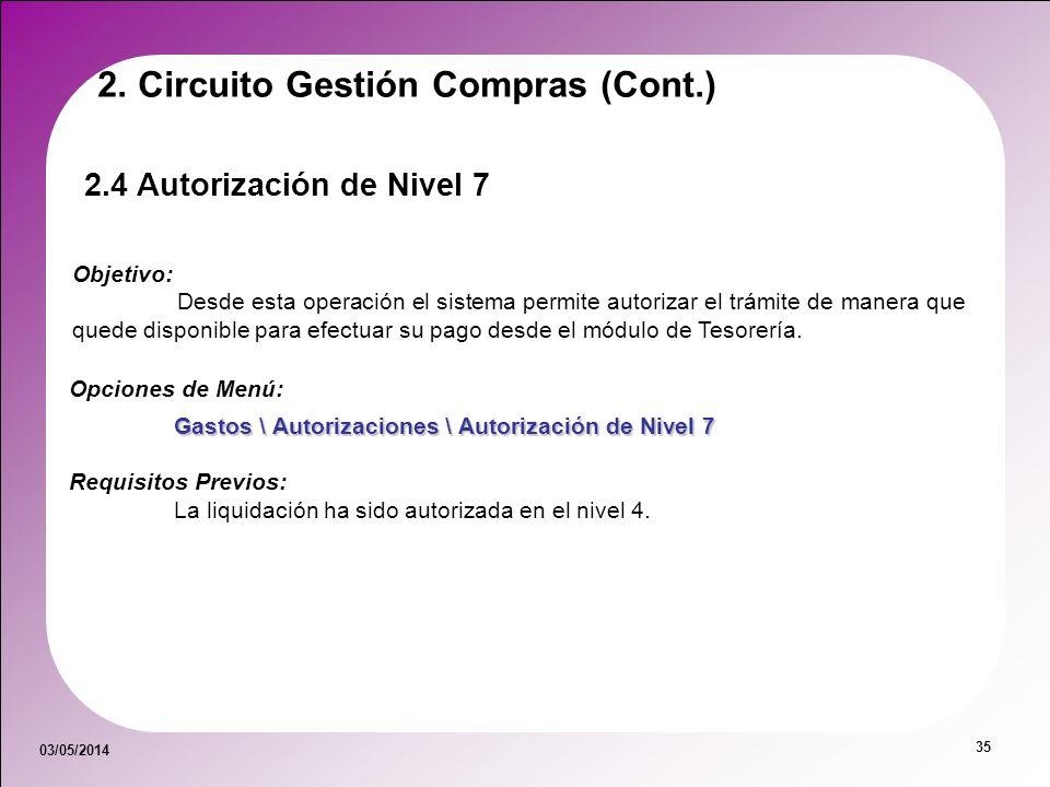 03/05/2014 35 2. Circuito Gestión Compras (Cont.) 2.4 Autorización de Nivel 7 Objetivo: Desde esta operación el sistema permite autorizar el trámite d