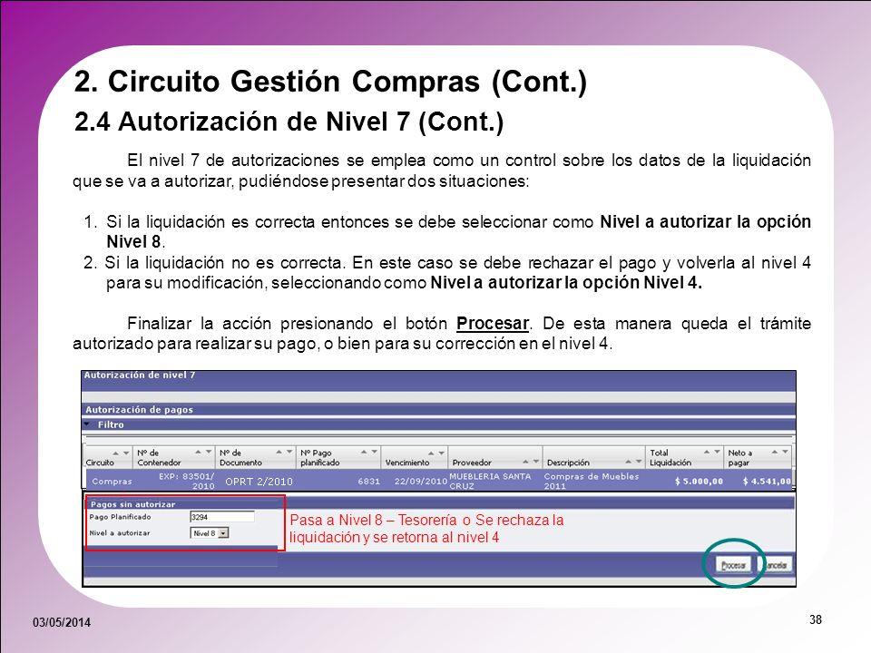 03/05/2014 38 El nivel 7 de autorizaciones se emplea como un control sobre los datos de la liquidación que se va a autorizar, pudiéndose presentar dos