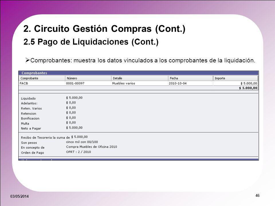 03/05/2014 46 Comprobantes: muestra los datos vinculados a los comprobantes de la liquidación. 2. Circuito Gestión Compras (Cont.) 2.5 Pago de Liquida
