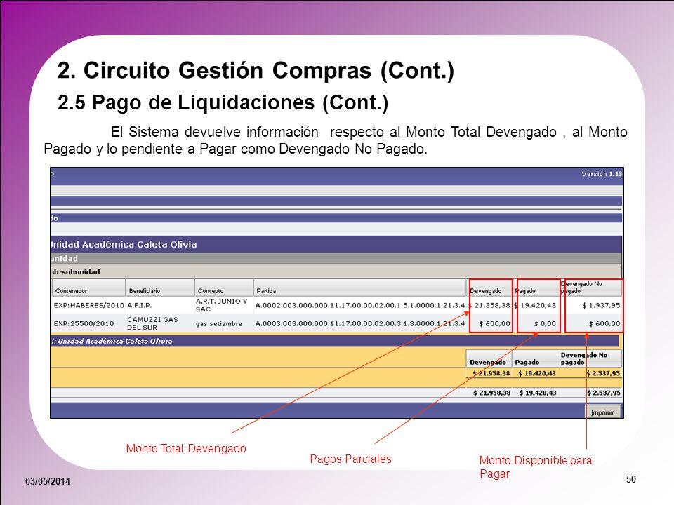 03/05/2014 50 2. Circuito Gestión Compras (Cont.) 2.5 Pago de Liquidaciones (Cont.) El Sistema devuelve información respecto al Monto Total Devengado,