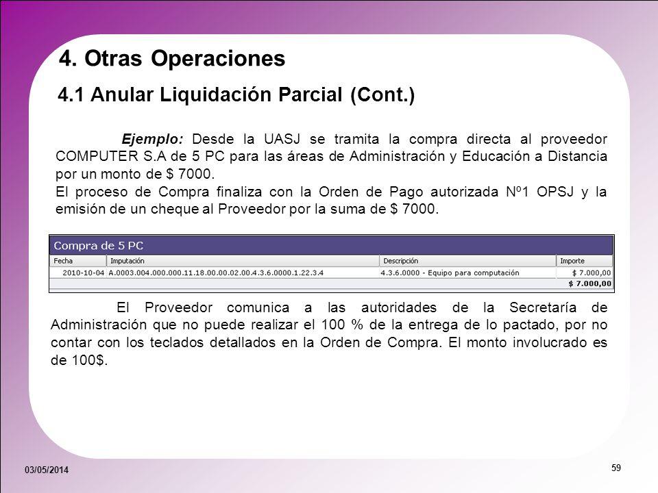 03/05/2014 59 Ejemplo: Desde la UASJ se tramita la compra directa al proveedor COMPUTER S.A de 5 PC para las áreas de Administración y Educación a Dis
