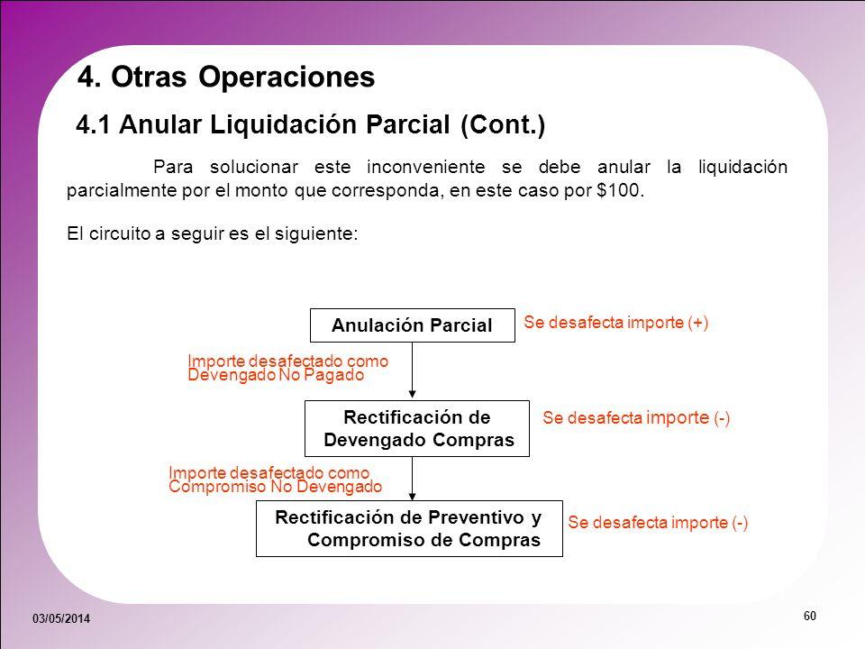 03/05/2014 60 4.1 Anular Liquidación Parcial (Cont.) 4. Otras Operaciones Para solucionar este inconveniente se debe anular la liquidación parcialment