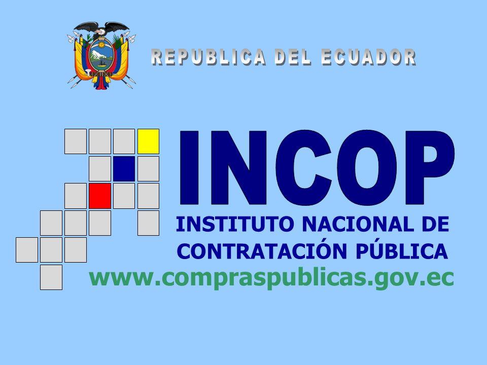 INSTITUTO NACIONAL DE CONTRATACIÓN PÚBLICA www.compraspublicas.gov.ec