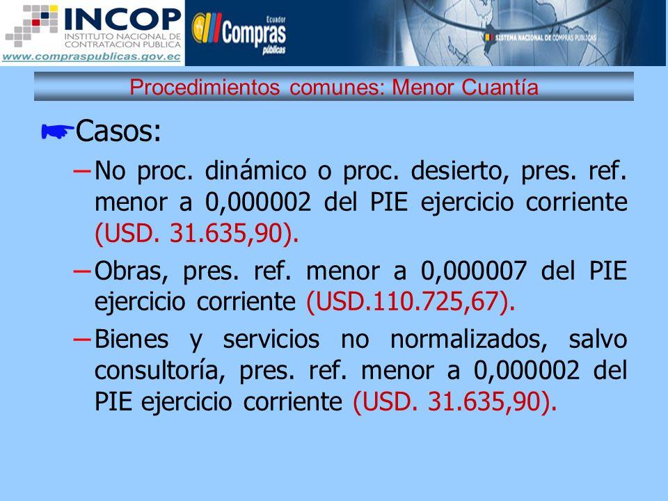Procedimientos comunes: Menor Cuantía Casos: – No proc. dinámico o proc. desierto, pres. ref. menor a 0,000002 del PIE ejercicio corriente (USD. 31.63