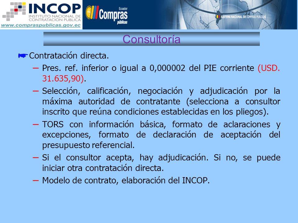 Consultoría Contratación directa. – Pres. ref. inferior o igual a 0,000002 del PIE corriente (USD. 31.635,90). – Selección, calificación, negociación