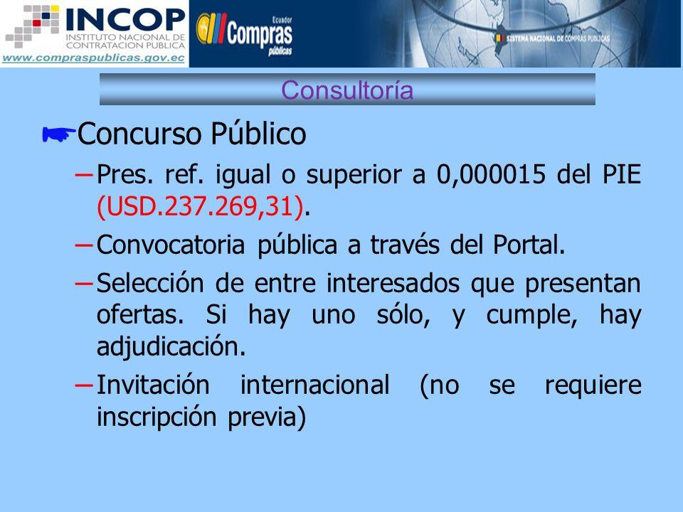 Consultoría Concurso Público – Pres. ref. igual o superior a 0,000015 del PIE (USD.237.269,31). – Convocatoria pública a través del Portal. – Selecció
